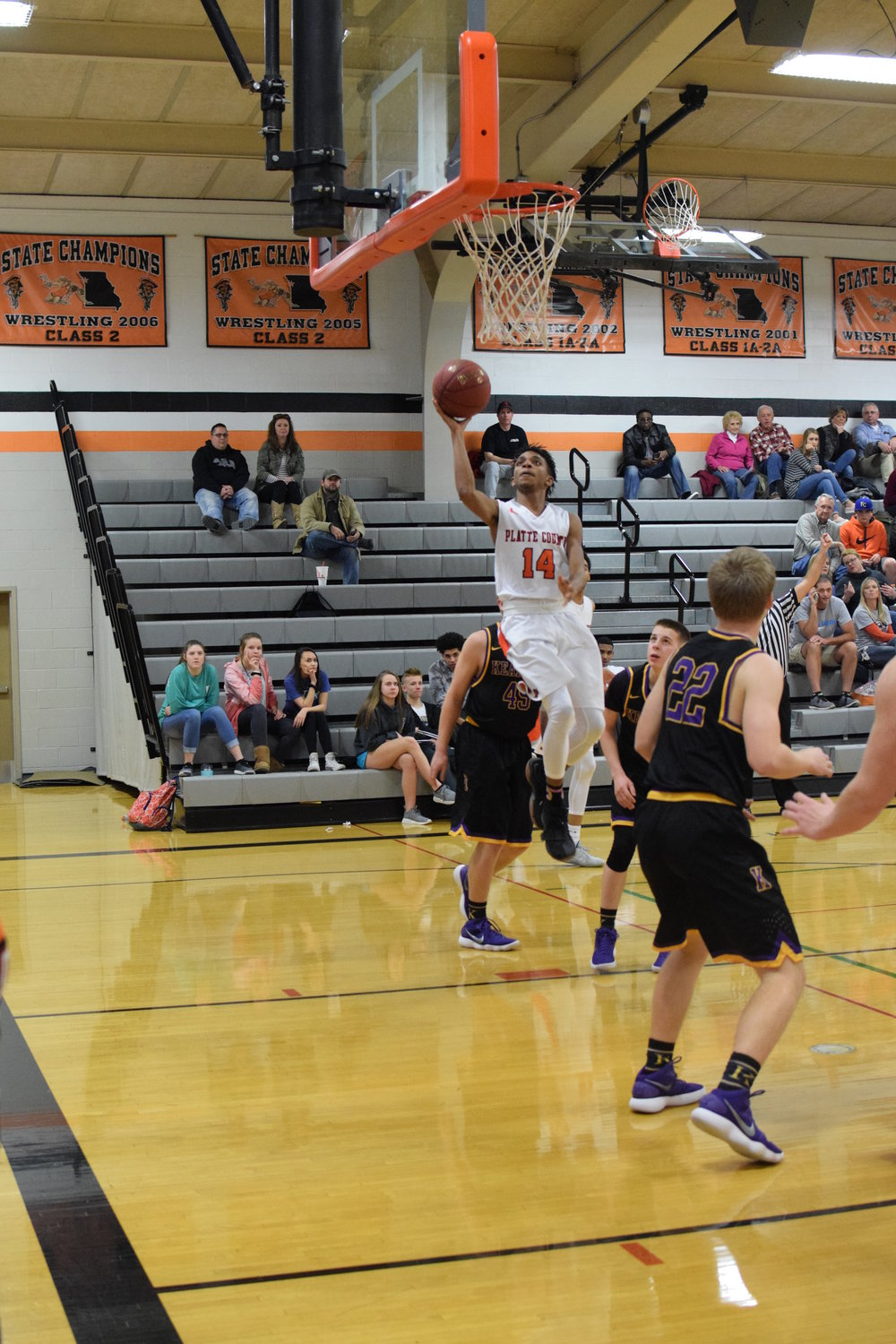 BRYCE MERENESS/Citizen photo Platte County sophomore Darren Wilson goes up for a layup in the Pirates' 59-51 win against Kearney on Tuesday, Feb. 13 at Platte County High School.