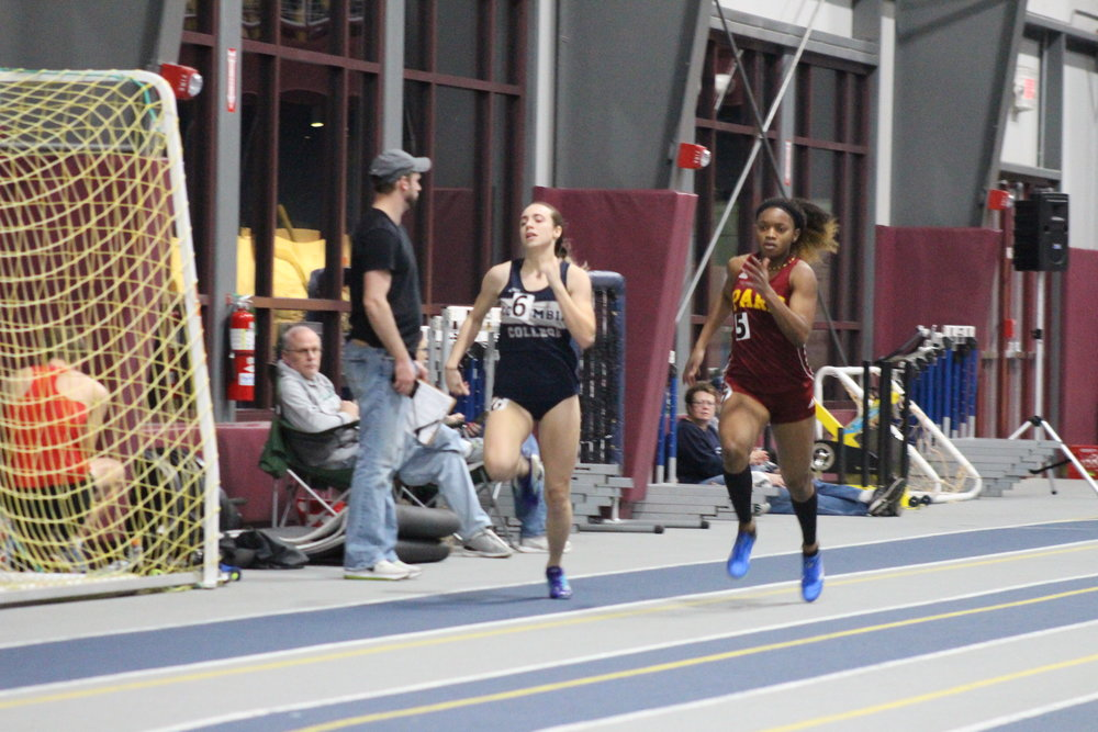 Park University senior Jerosan Fletcher (right) was named the American Midwest Conference Women's Athlete of the Year following her performance at the league's Indoor Track and Field Championships in Elsah, Ill.