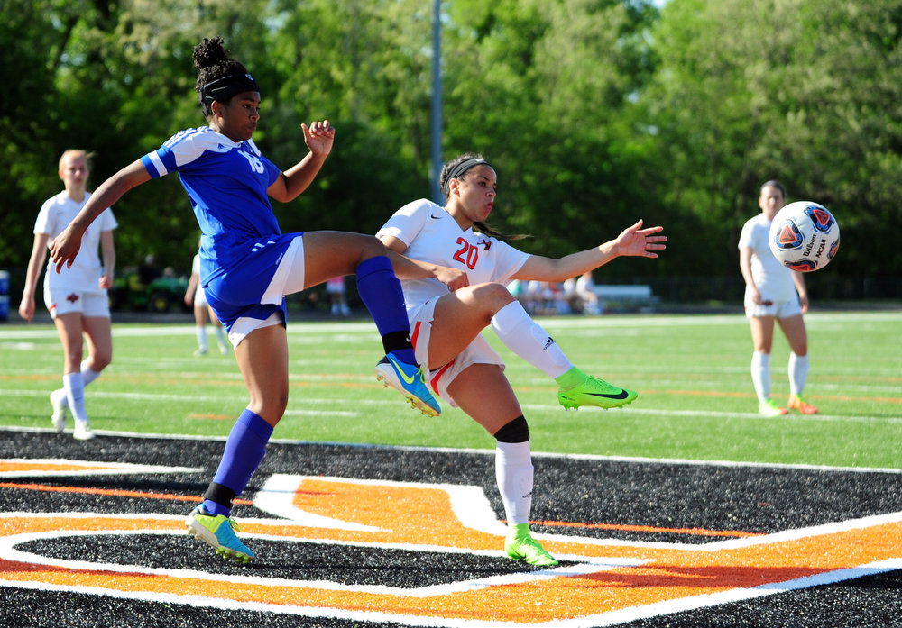 Citizen file photo Platte County's Destinee Smith has tallied more than 50 goals the past two season and will be a key factor in the Pirates returning to the district title game.