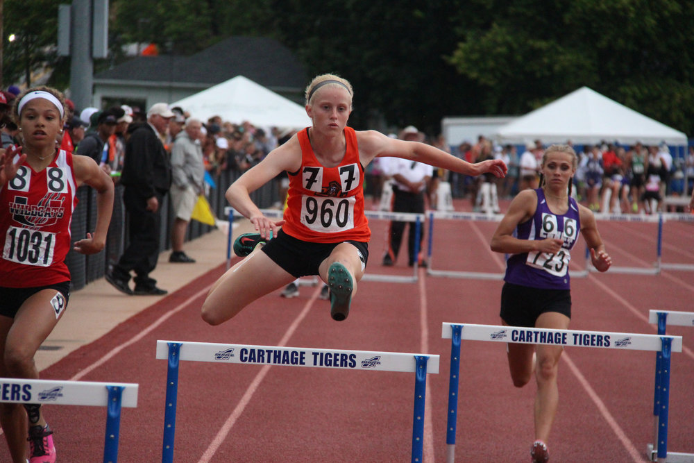 Citizen File Photo Platte County's Isabelle Geddes competed in the 300-meter hurdles last spring and returns.