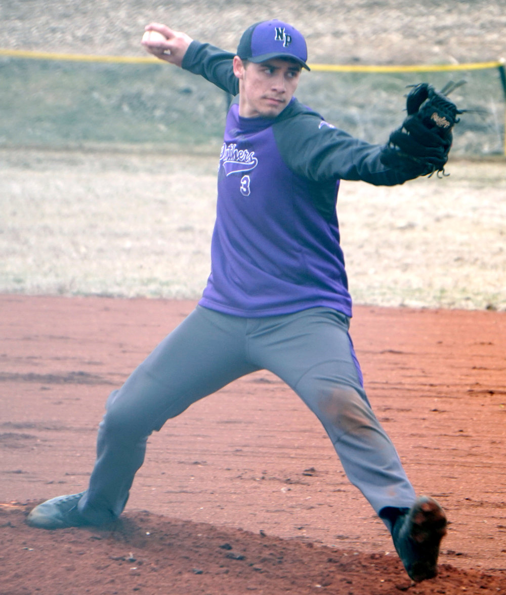 Jon Dykstra/Special to the Citizen North Platte pitcher Trevor Lamar throws a pitch home during a game on Monday, March 19 against Platte Valley in Barnard, Mo. The Panthers won the non-conference game, 2-0.