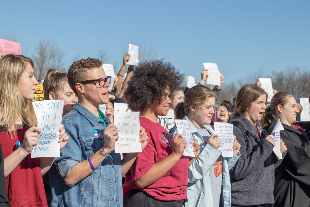 Brooke Tramel/Special to the Citizen Platte County High School students took part in the National School Walkout on March 14, going to Pirate Stadium for a 17-minute span, one minute for each student killed in the Parkland, Fla., shooting last month.