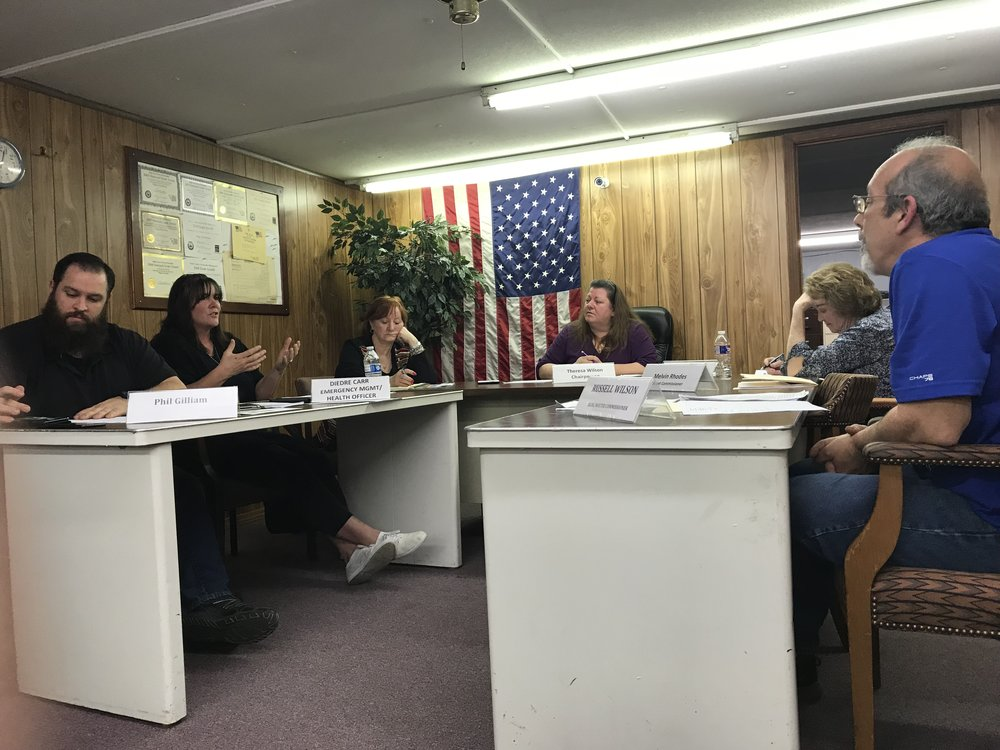 CODY THORN/Citizen photo Village of Ferrelview trustee Diedre Carr, second from left, discusses safety issues in the village during the board of trustee meeting held on Tuesday, March 13.
