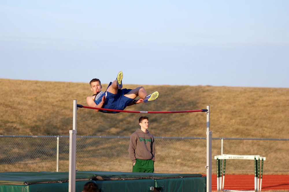 CODY THORN/Citizen Photo West Platte's Drake Stelljes clears the bar in the high jump event at the Mid-Buchanan Early Bird meet on Thursday, March 22, in Faucett.