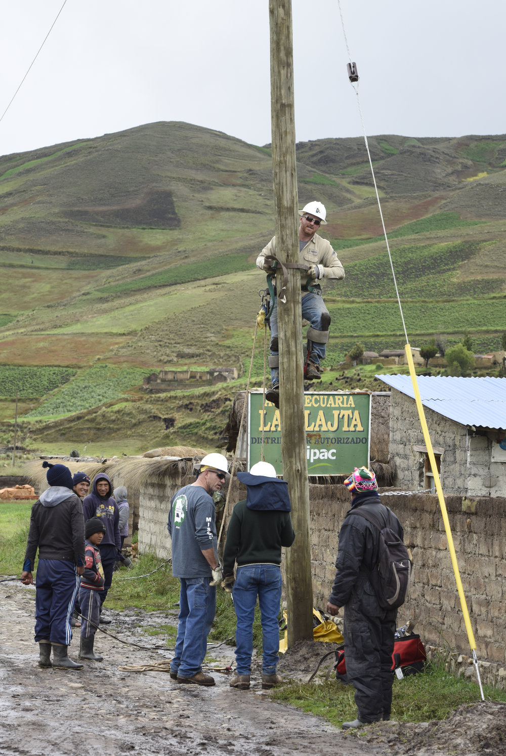 Contributed photo Platte County graduate Jake Fain was one of many volunteers from electric cooperatives in Missouri and Oklahoma that traveled to Bolivia last month to work for two weeks.