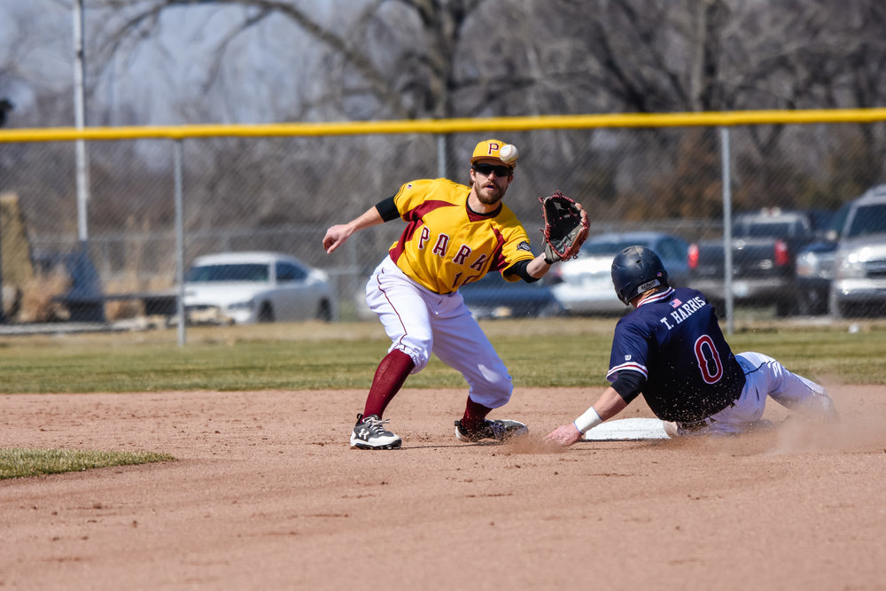Contributed photo/Park Athletics Park University shorstop Tim Schaareman waits for a pick off throw on a stolen base attempt during a game earlier this season. The Park baseball team has set school records in recent weeks with their play on the field.