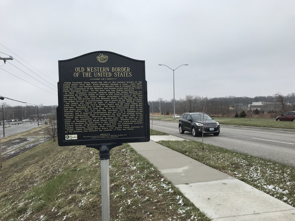 CODY THORN/Citizen photo This historical marker on North Platte Purchase Road now divides Platte and Clay County, but in the early 1800s it was the Western border of the United States.