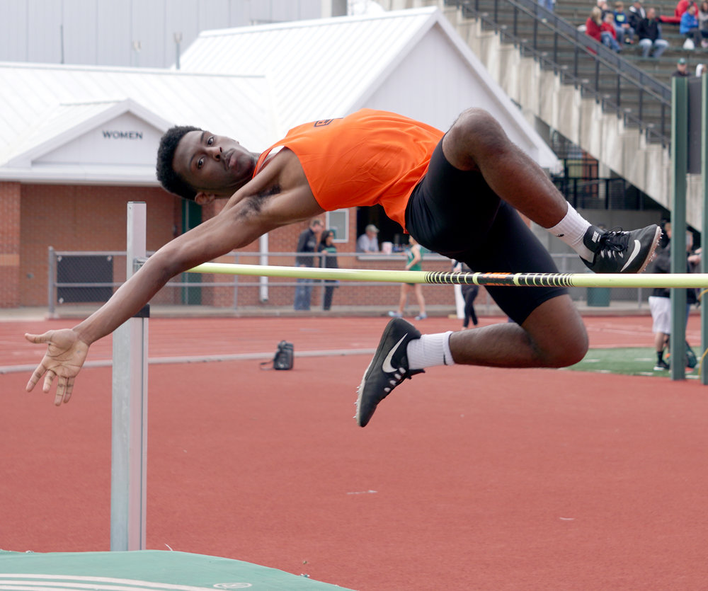 JON DYKSTRA/Special to the Citizen Platte County's Tre Reece clears the high jump bar during the Northwest Missouri State Bearcat Classic on Tuesday, April 10, at Bearcat Stadium in Maryville, Mo.