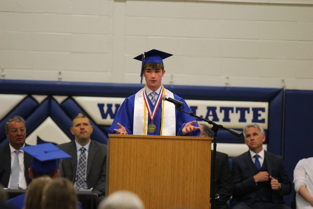 CODY THORN/Citizen Editor West Platte senior Aidan Sullivan talks during the school's graduation ceremony on Sunday, May 13, at the gymnasium at the high school.
