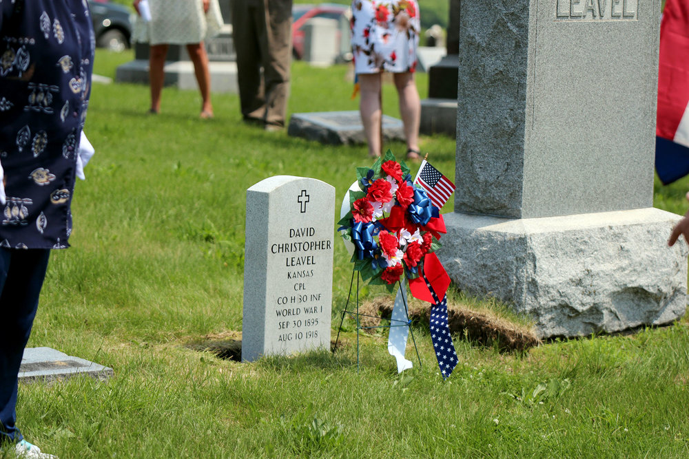 CODY THORN/Citizen photos Headstones for World War I veterans David Christopher Leavel and George Bernard Stone were placed on Tuesday, May 22 at the Camden Point Community Cemetery. The two both lived in Platte County and were killed in action on the same day, nearly 100 miles apart in France.