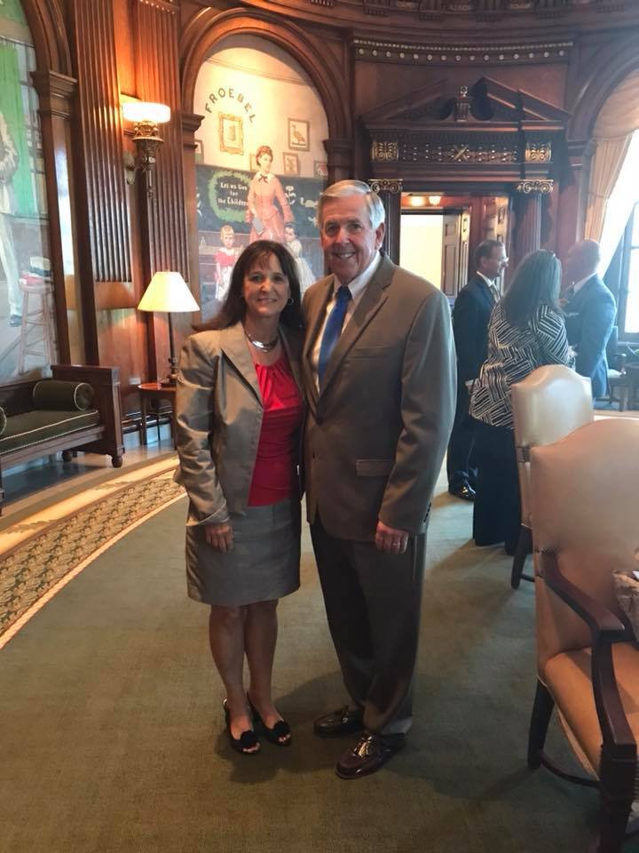 Riverside mayor Kathy Rose, left, was one of seven mayors from across the state of Missouri to meet with new Missouri Gov. Mike Parson on Tuesday, June 5.  Courtesy of Mayor Kathy Rose