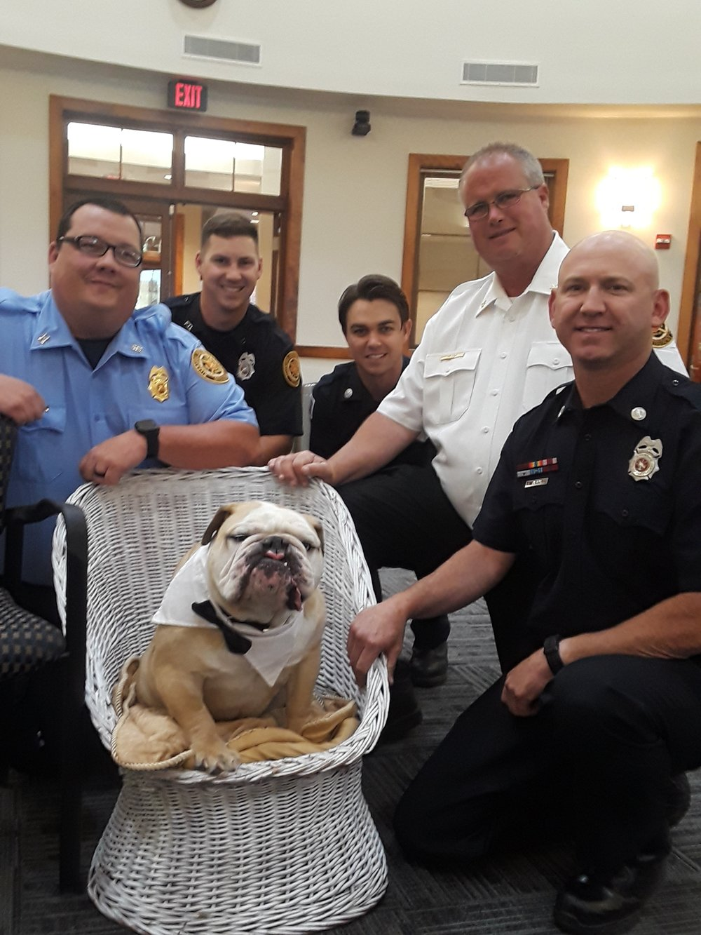 Submitted photo Stanley the Bulldog was named an honorary fire dog for the Riverside Fire Department at the June 5 board of aldermen meeting.