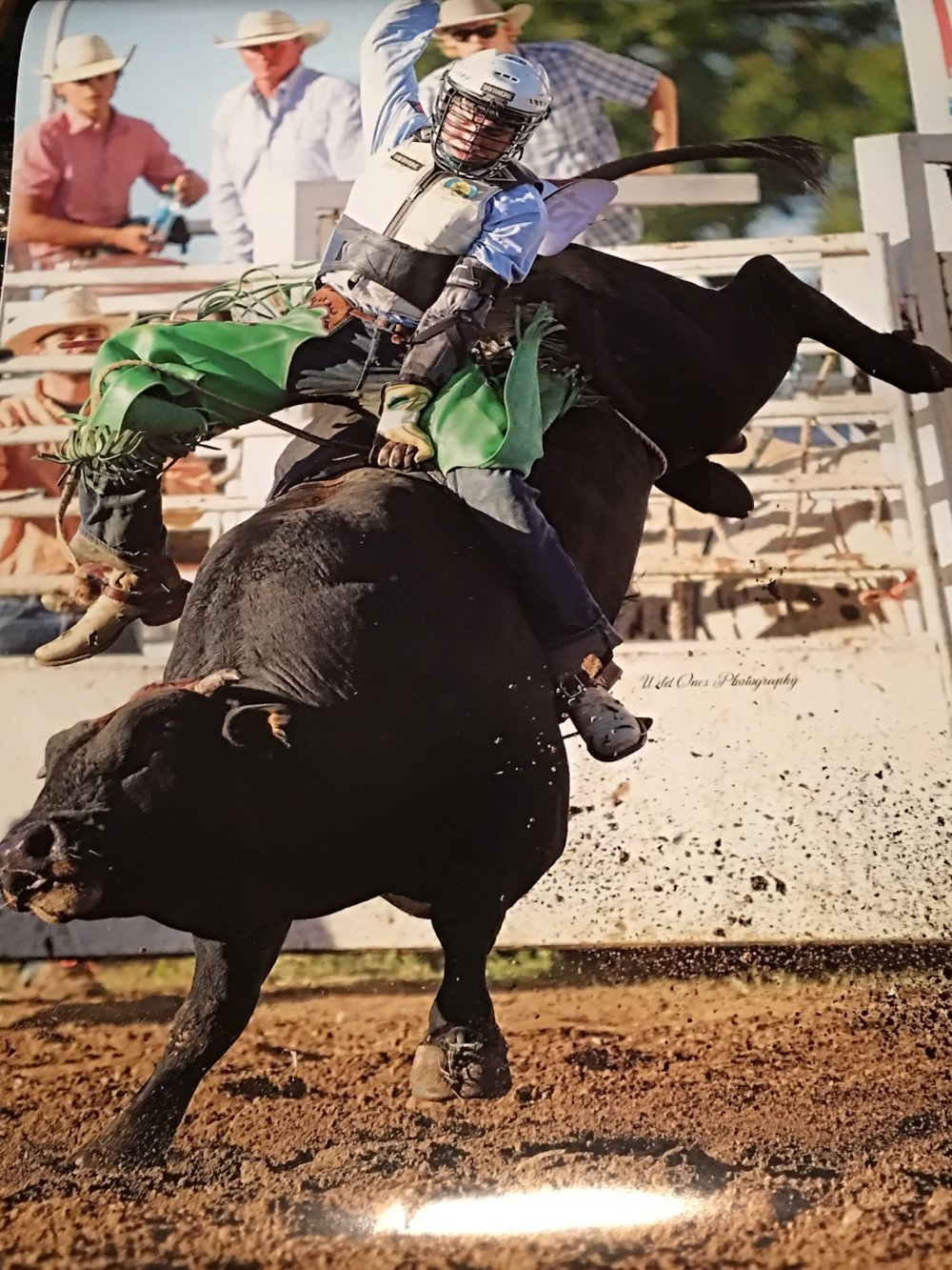 Submitted photo Platte City resident Koltin Hevalow is shown riding a bull earlier this year in Osceola, Mo. He is set to compete this upcoming week in the National High School Finals Rodeo in Wyoming.
