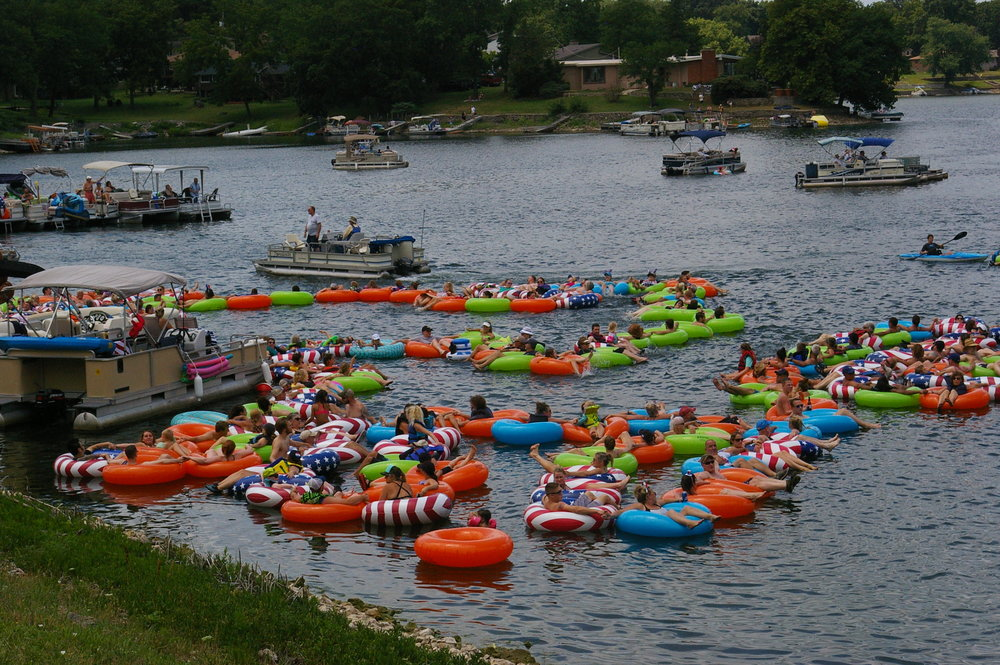 Lake Waukomis, a town of nearly 900, attempted to break a Guinness Book of World Records on July 1 for the longest line of water inflatables, which may have been set at 705 feet, 8 1/2 inches earlier this year in Italy. More than 400 colorful inflatables convened on the lake in Platte County.