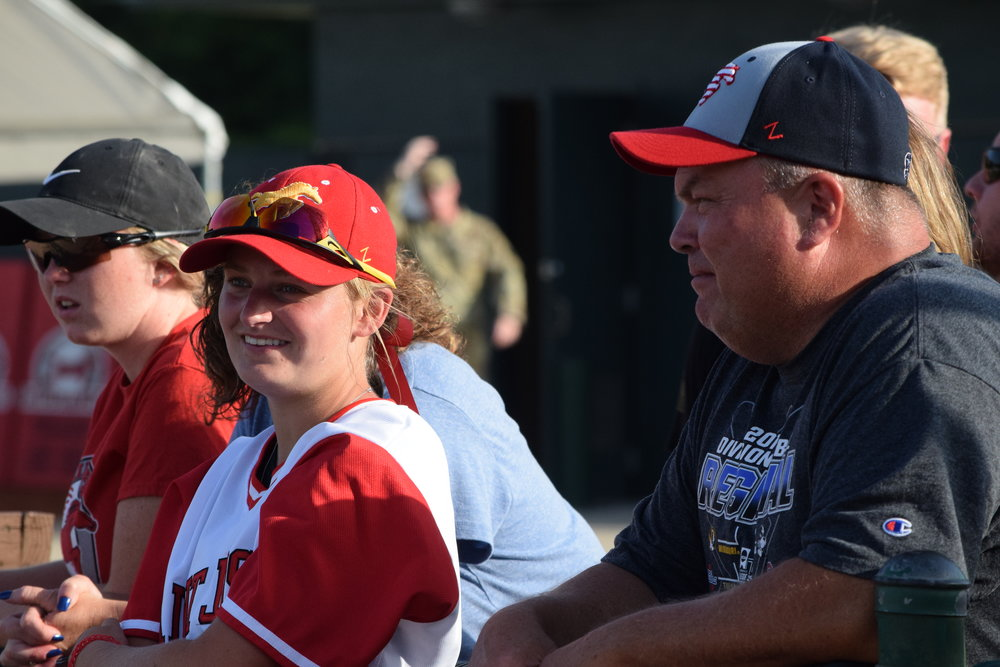 Regan Nash, left, and her father, Tim Nash, look at Phil Welch Stadium prior to the start of the St. Joseph Mustangs vs. the Ban Johnson All-Stars on Tuesday, July 7 in St. Joseph, Mo.