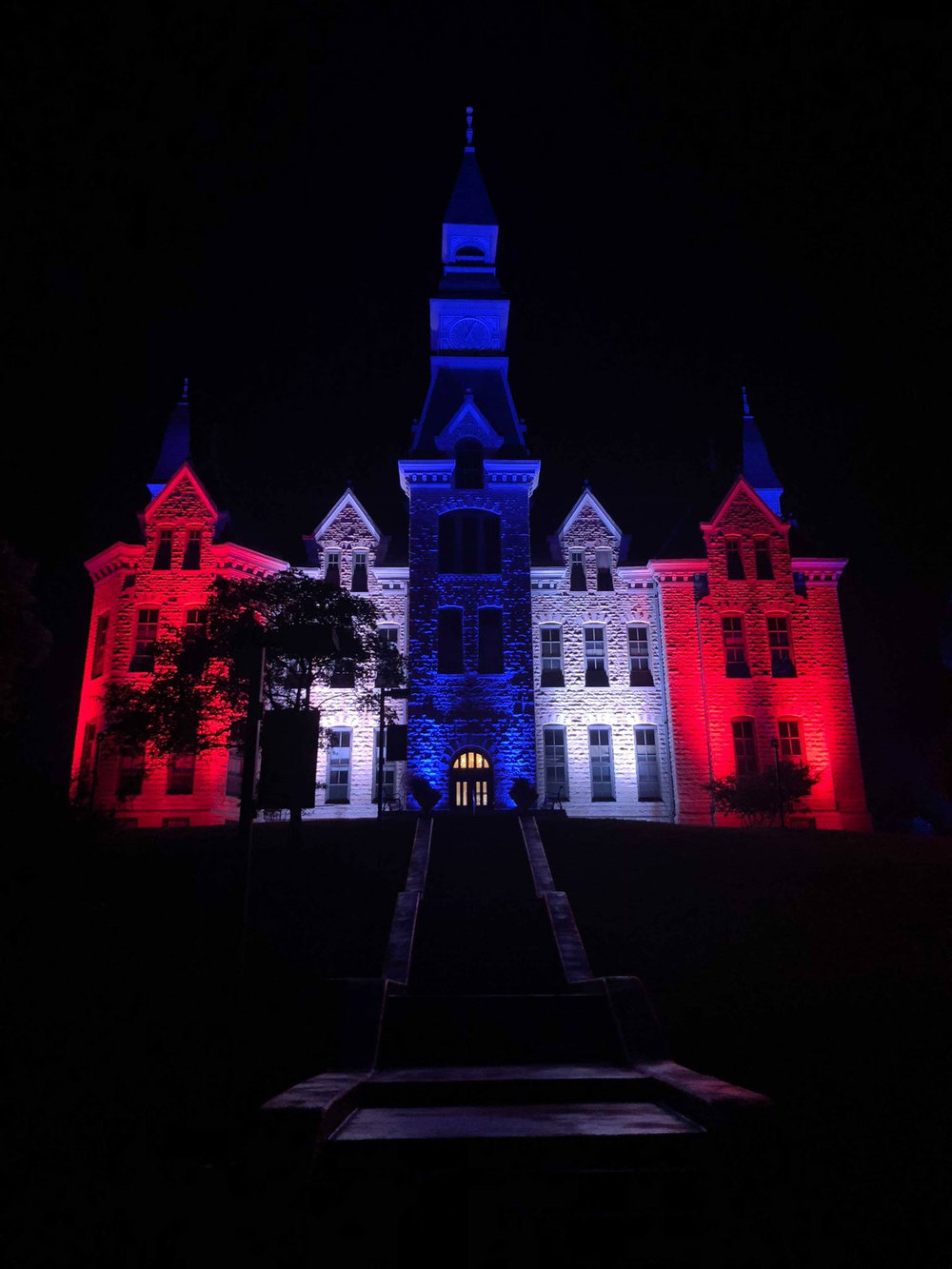Andrew Audsley/Park University Red, white and blue colors adorned Park University's Mackay Hall following the Independence Day celebration in Parkville earlier this month. The school had lights permanently installed by DuraComm — ran by a former Park board of trustees member — to showcase the building that is celebrating its 125th year.
