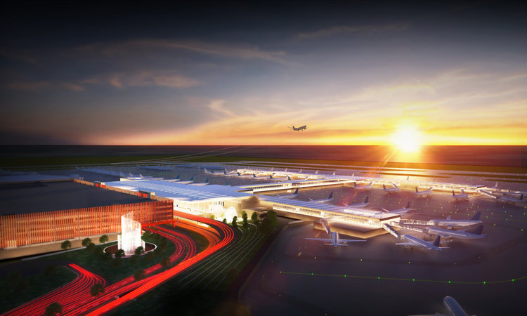 Submitted photo A new rendering of the proposed Kansas City International Airport single terminal project shows a water fountain located next to the parking garage structure.