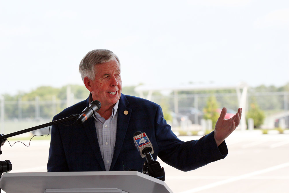 CODY THORN/Citizen photo Missouri Governor Mike Parson talks during a ribbon cutting ceremony on Friday, Aug. 24 at the CVS Health distribution center in Kansas City that will start rolling out products in October.