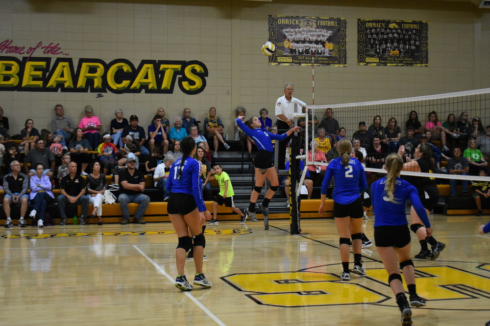 Submitted photo West Platte's Daire Stelljes goes up for a kill in a game against Orrick on Thursday, Aug. 30 in Orrick, Mo.