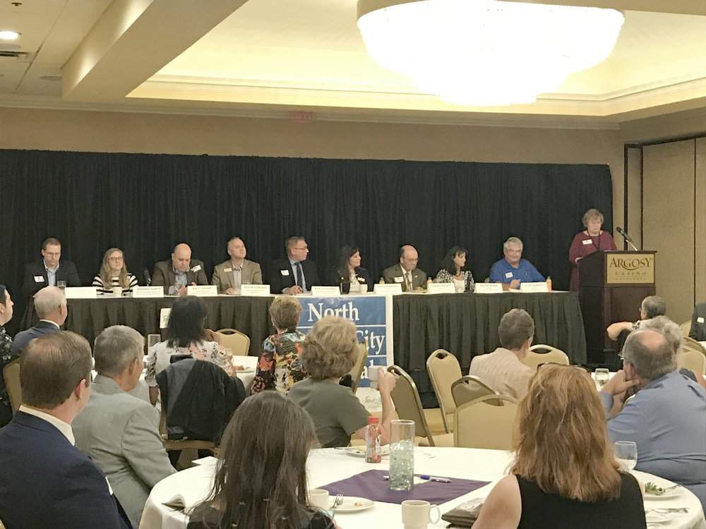 CODY THORN/Citizen photo  Panelists for the 2018 Platte County Legislative Breakfast included representatives from Roy Blunt, Claire McCaskill and Sam Graves offices, as well as state representative Kevin Corlew, fourth from the left, who spoke about transportation and infrastructure during the event on Thursday, Sept. 6 at the Argosy Casino Hotel & Spa in Riverside, Mo.