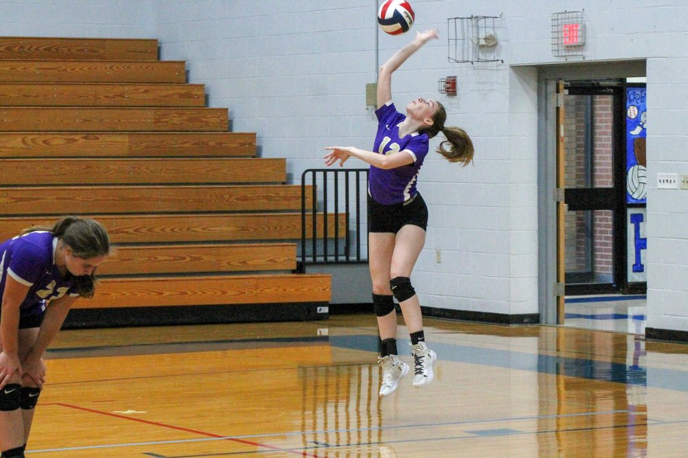 Submitted photo  North Platte's Kelsey Reynolds serves the ball against Lone Jack in a road game on Tuesday, Sept. 11 in Lone Jack, Mo. The Panthers were swept in the match but already exceeded last year's win total of two games.
