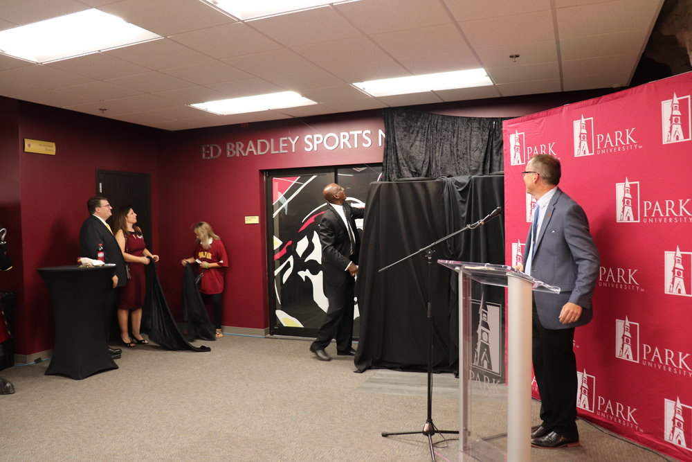 JEANETTE FAUBION/Citizen photo Park University officials last week unveiled the new Ed Bradley Sports Medicine Center in Parkville. Bradley was a longtime supporter of Park University and its athletics programs.