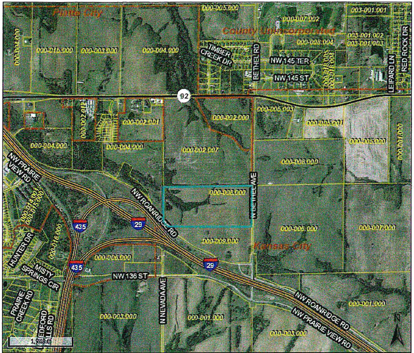 Submitted photo The teal box indicates the 69.61 acres that were annexed into Platte City during the board of aldermen meeting on Tuesday, Sept. 25.