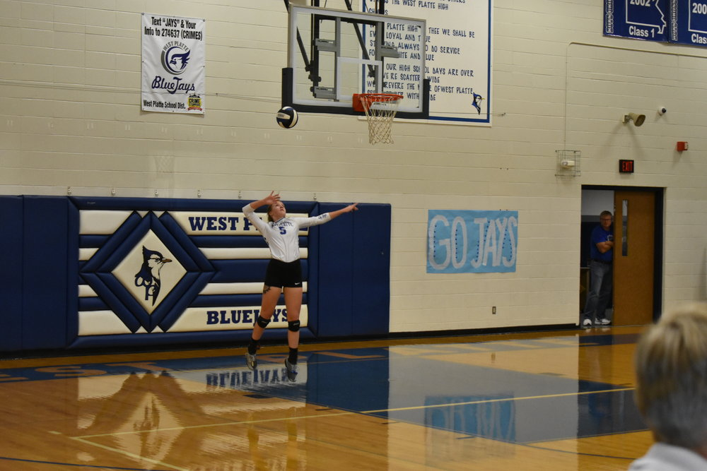 Submitted photo West Platte's Daire Stelljes serves the ball against Mid-Buchanan on Thursday, Sept. 27 in a KCI Conference game in Weston, Mo.
