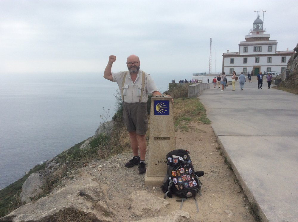 Submitted photo John Larimer of Camden Point posed for a photo at Faro de Fisterra, the westernmost point in Europe.