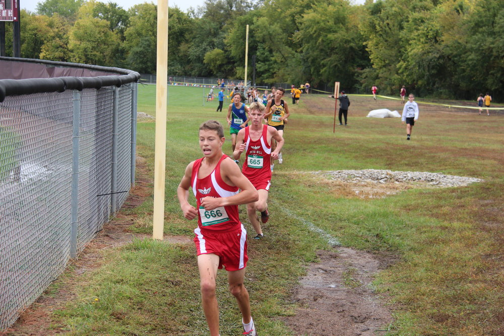 CODY THORN/Citizen photo  Park Hill's Dan Foster, front, and Isaiah Phillips, behind, earned all-conference honors at the Suburban Conference Gold Division race held Saturday, Oct. 6 in Lee's Summit, Mo.