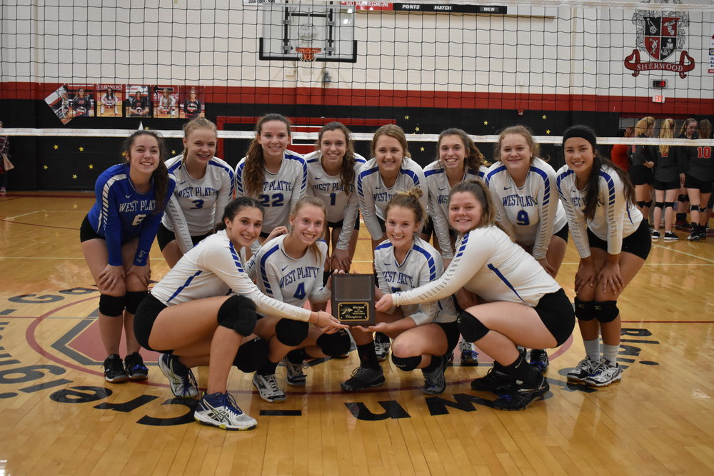 Submitted photo  The West Platte volleyball team took first place at the Sherwood Invitational held on Saturday, Oct. 6 in Creighton, Mo.
