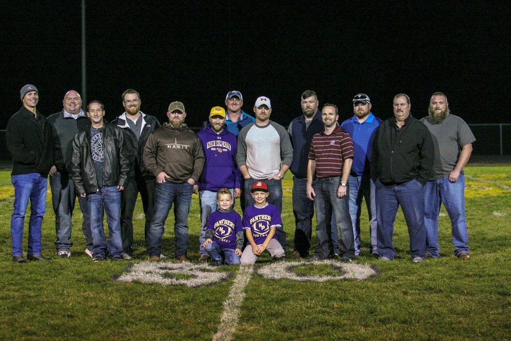 Members of the North Platte 1998 football team were honored at halftime of Friday's game between North Platte and Hamilton on Oct. 20. The Panthers won the Class 1A title with a 30-7 win against St. Vincent-Perryville.