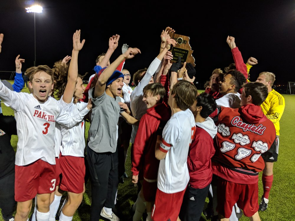 ADAM BURNS/Citizen photo  The Park Hill soccer team celebrates after winning the Class 4 District 16 tournament on Thursday, Nov. 1 at Park Hill South High School in Riverside, Mo.