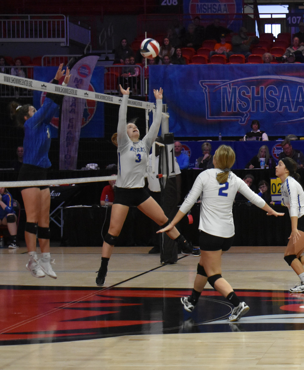 Submitted photo West Platte's Faith Stevens (3) sets the ball for teammate Samantha Rotterman (2) during the Class 1 third-place match on Saturday, Nov. 3 against Billings in Cape Girardeau, Mo.