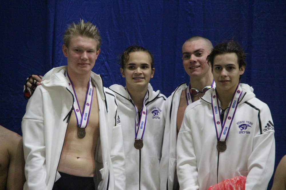 CODY THORN/Citizen photo  Park Hill South's 200-yard freestyle relay team of Zander Livingston, Isaac Lee, Luke Brown and Fletcher Burns took fourth place in the Class 1 MSHSAA Swimming and Diving Championships on Saturday, Nov. 10 at the St. Peters Rec-Plex.