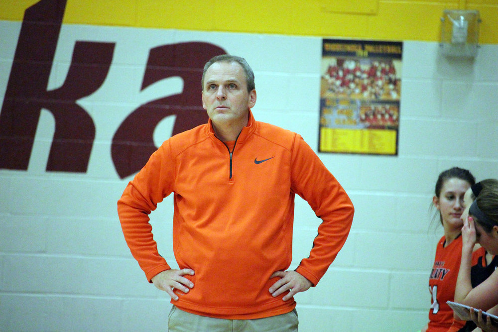 CODY THORN/Citizen photo  Platte County coach Chris Stubbs watches his a player shoot a free throw during this file photo on Wednesday, Nov. 28 at the Winnetonka Tournament in Kansas City, Mo.