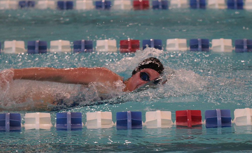 CODY THORN/Citizen photo  Platte County's Shannon Banark was part of the 200-yard freestyle relay that placed fourth at the Winnetonka Holiday Invitational on Saturday, Dec. 8 at the Gladstone Community Center.
