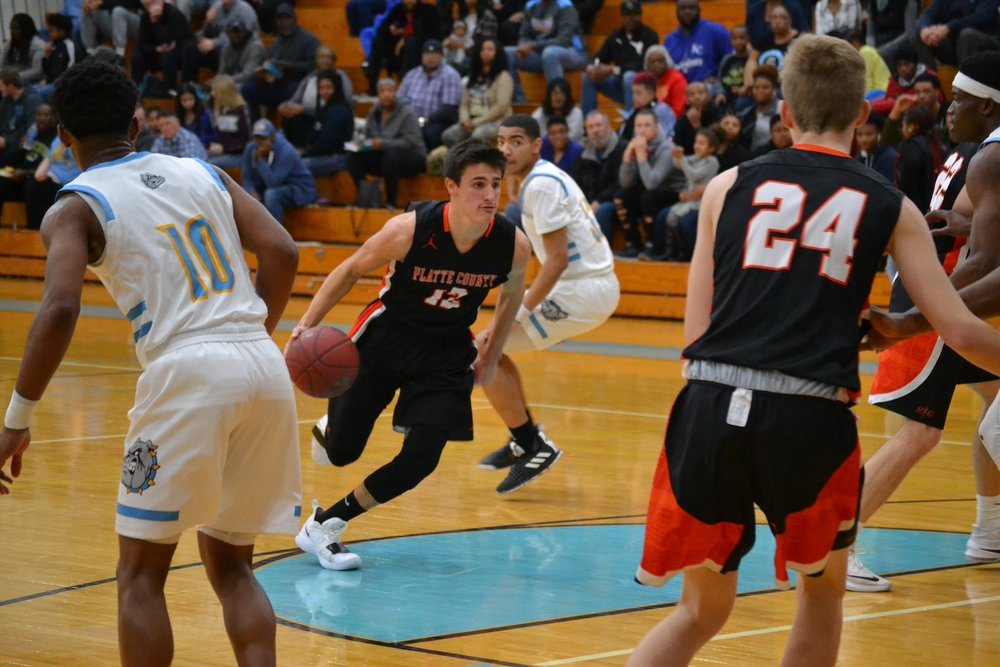 BRENT KALWEI/Jackson County Advocate  Platte County's Dylan Gilbert drives the lane in a game on Friday, Jan. 4 against Grandview in a Suburban Conference Blue contest in Grandview, Mo.