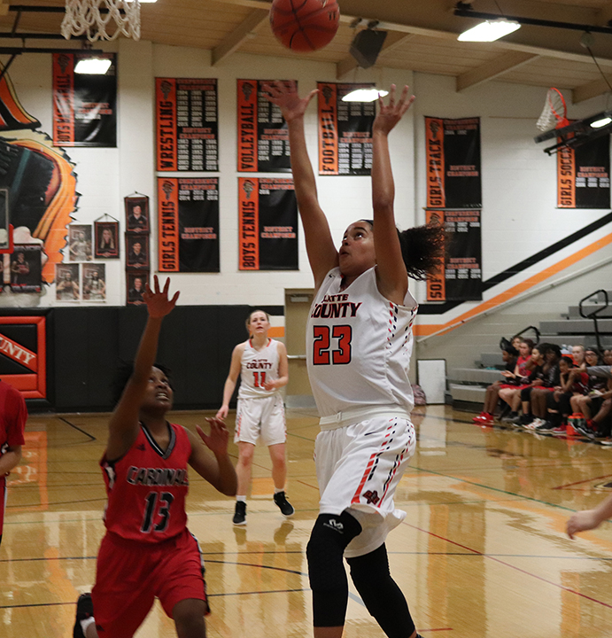 CODY THORN/Citizen photo  Platte County's Amaya Blake goes up for a basket against Raytown South on Monday, Jan. 30 in Platte City.