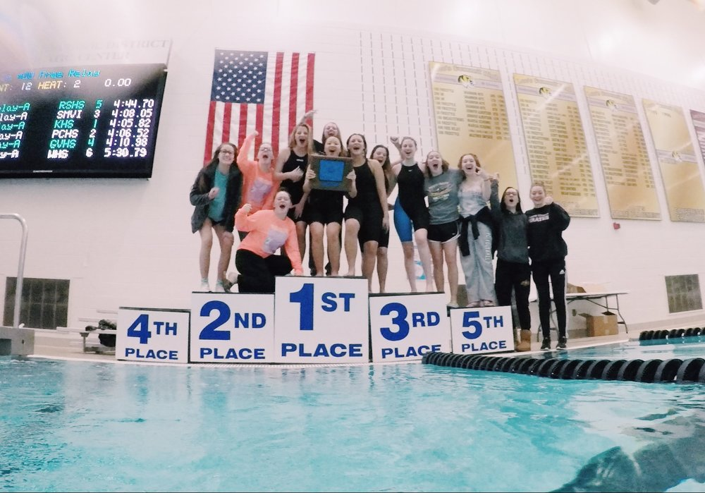 Submitted photo  The Platte County swimming team won the Suburban Conference Blue Division title on Saturday, Feb. 2 at the Lee's Summit Aquatic Center.