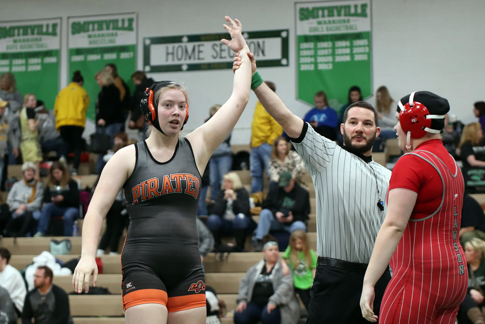 CODY THORN/Citizen photo  Platte County's KayLyn Munn, left, won the third-place match in the Class 1 District 4 tournament on Saturday, Feb. 2 at Smithville.