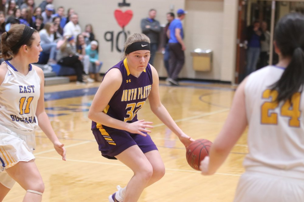 CLINTON COUNTY LEADER/ Special to the Citizen  North Platte's Grace Rice, right, dribbles during a KCI Conference game on Friday, Feb. 1 against East Buchanan in Gower, Mo.
