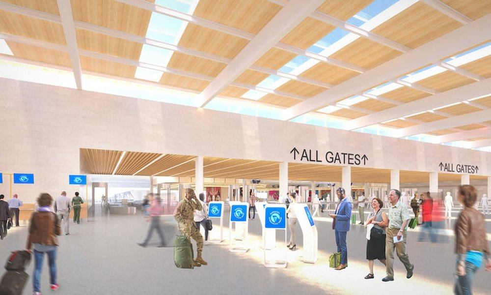 SOM Architecture An artist rendering shows what the check-in area of the new KCI single terminal project could look like. Six of the eight airlines agreed on the cost of $1.5 billion recently.