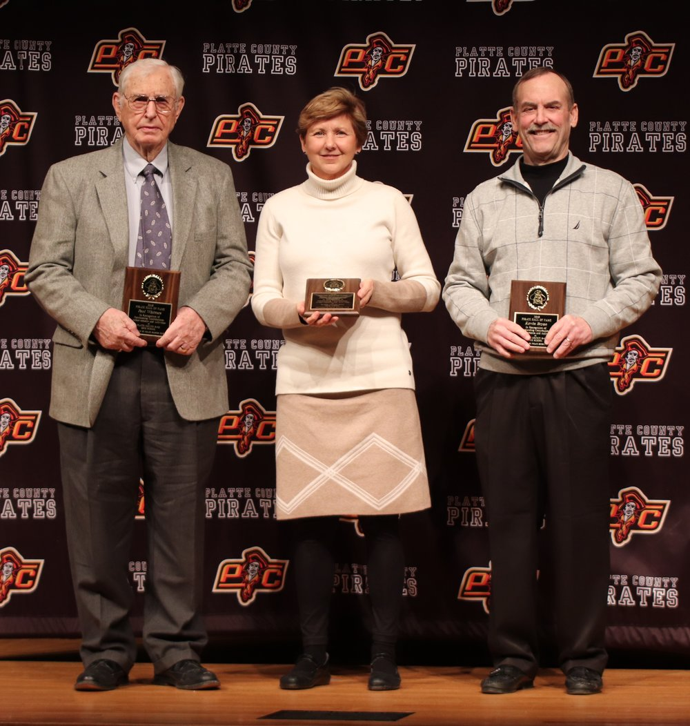ROSS MARTIN/Special to the Citizen  The 2019 Platte County Pirates Hall of Fame included Paul Whitters (left), Jane Wittmeyer (center) and Kevin Bryan (right). A ceremony was held on Thursday, Feb. 7.