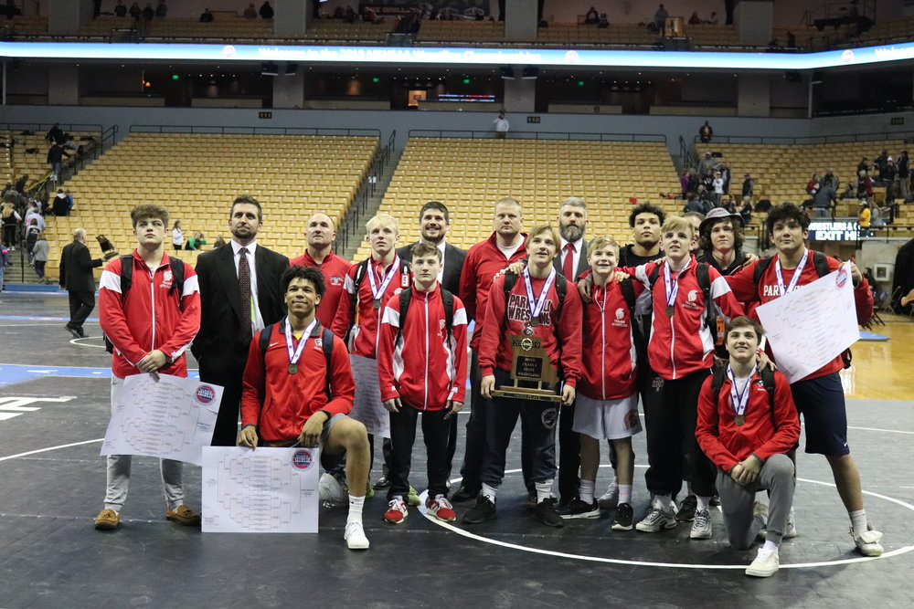 CODY THORN/Citizen photo The Park Hill wrestling team took third place in Class 4 at the MSHSAA Wrestling Championships.