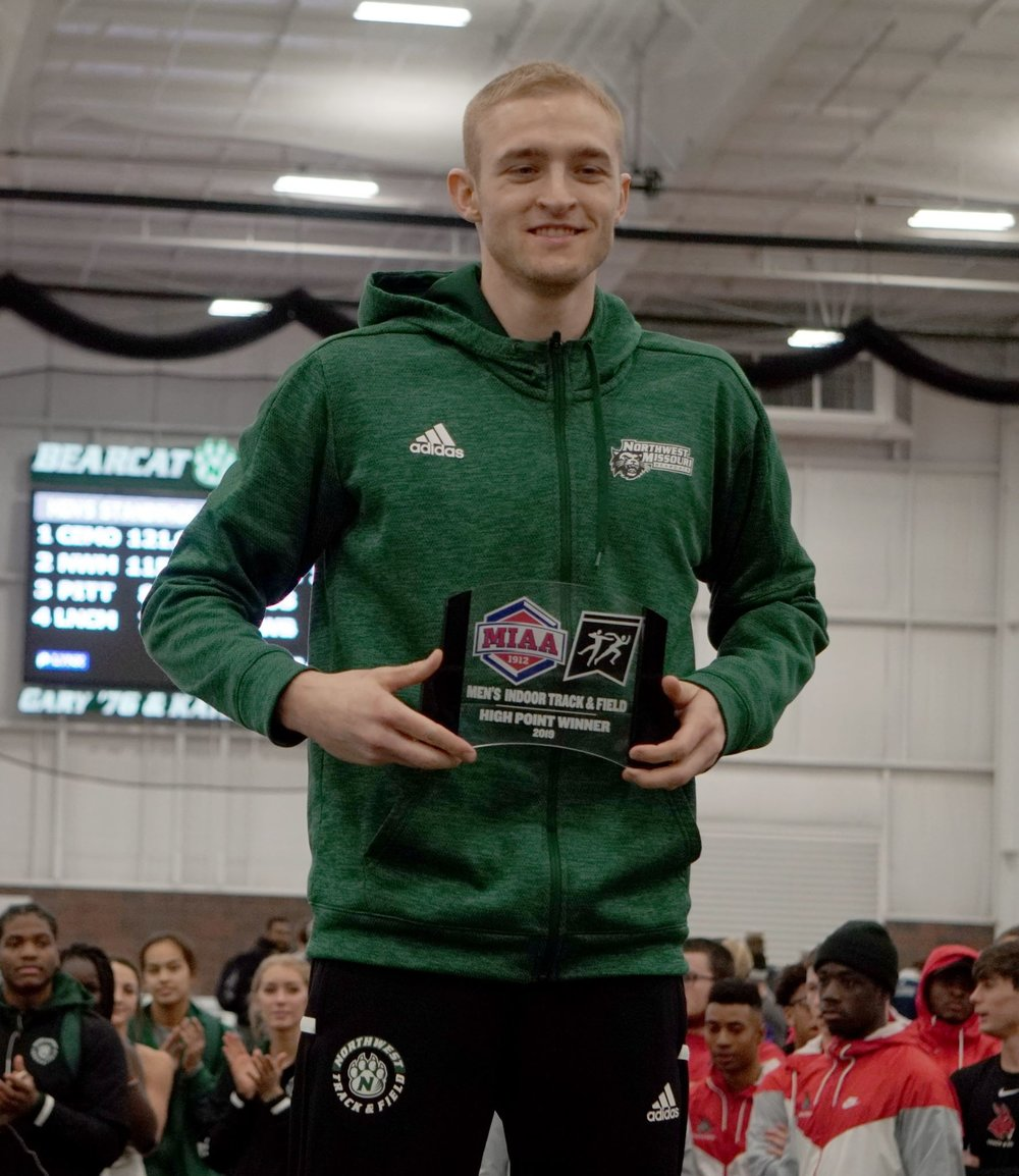 JON DYKSTRA/Maryville Daily Forum  Platte County graduate Kevin Schultz was the MIAA highest scoring athlete at the MIAA Indoor Track and Field Championships that wrapped up on Sunday, Feb. 24 in Maryville, Mo.
