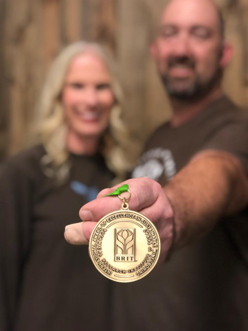 Submitted photo Jowler Creek owners Jason and Colleen Gerke displayed the gold medal the company recently won.