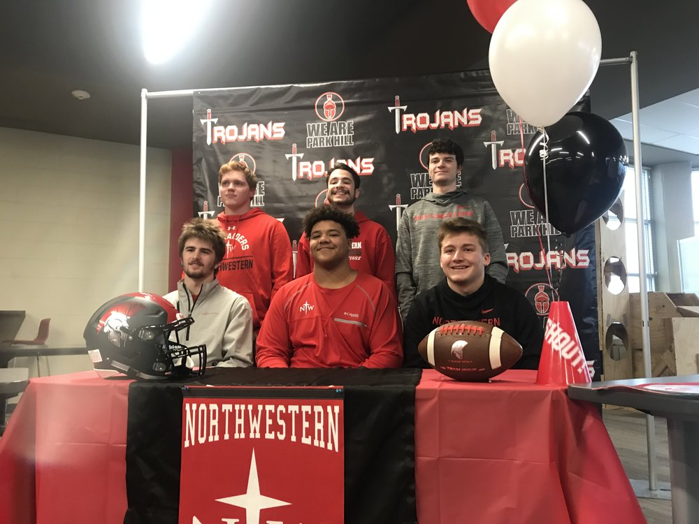 CODY THORN/Citizen photo  The Park Hill contingent heading to Northwestern College includes, front row from left: Carter Goslee, Jawan Grant, Cole Goiner and back row, from left: Mark Grant, Donovan Bustamante and Payton Stanfield.