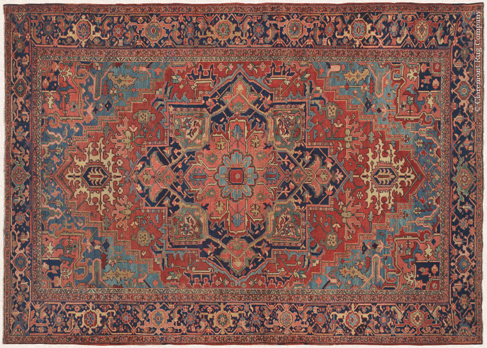 Heriz rug weavers often make them in geometric, bold patterns with a large medallion dominating the field. Such designs are traditional and often woven from memory.Similar rugs from the neighbouring towns and villages of the Heriz region are Afshar, Heris, Mehraban, Sarab, Bakhshaish, and Gorevan. The grades of these rugs are primarily based on village name. Serapis, for example, have been considered the finest grade of Heriz since the beginning of the 20th century.