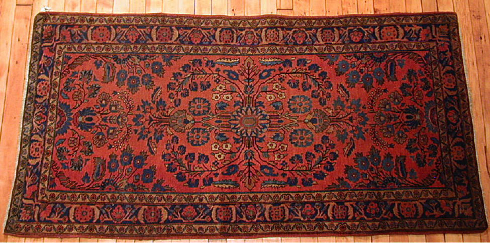 Sarouk rugs continue to be produced today using the same methods as during early production – with the exception of the post-production dye job. Known for their exceptional quality and ability to withstand decades of wear, Sarouks continue to be a best seller in Persian rugs. They are made with a high quality, tough wool using a Persian knot. A telltale sign of a Sarouk is usually its blue weft threads, salmon or tomato-red color mixed with ivory and blues, and a very traditional, floral style. The finest of the modern Sarouk rugs come from the small town of Ghiassabad.